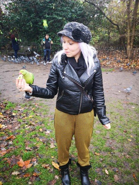 Feeding birds in Hyde Park
