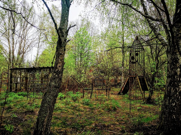 An overgrown playground Chernobyl